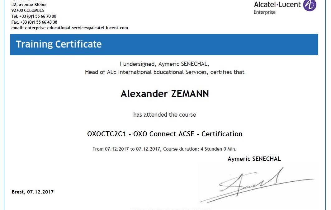 ACSE OXO Connect - Zertifizierung erneuert - Call Data Systems